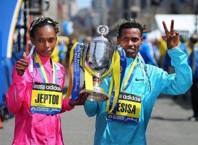 2013 Boston Marathon Winners Jeptoo and Desisa