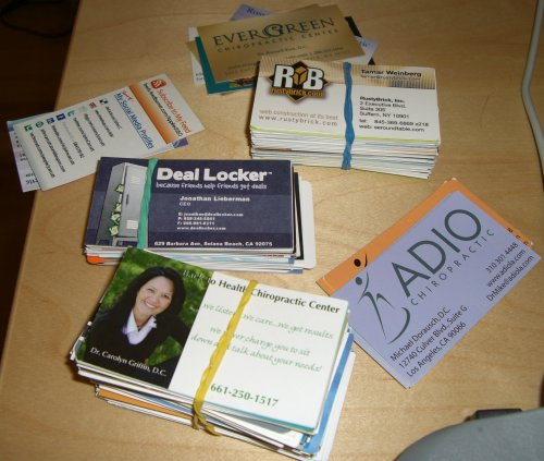 Stacks of business cards